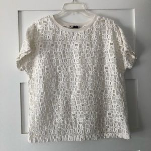 Vince. Tiled Lace Short-Sleeve Tee